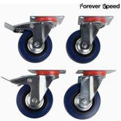 4 blaue Lenkrollen mit Bremse