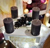 Minipalette als Kerzenständer